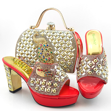 New Fashion Women Party Shoes And Bag Set For Party Coral Color Nigerian Style High Heel Cool slippers And Bag Set 2017 red new arrival peep toe shoes and bag set for wedding italian design women s party shoes and bag set free shipping by dhl