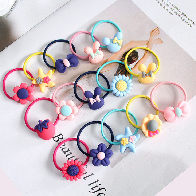 10 PCS Lovely Flower Princess Headwear Baby Headdress Girls Hair Accessories Kids Elastic Hair Bands Children Hair Ropes 1