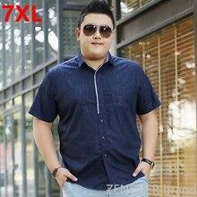 Male Shirt Plus-Size Clothing Short-Sleeve Men's Casual Summer Big 7XL 150kg Loose Big-Yards
