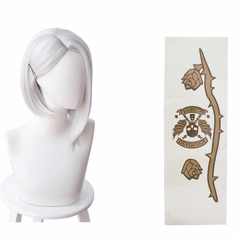 Game OW Ashe pruik haar Met Tattoo sticker Ashe Cosplay Witte Pruiken kostuum Accessoires Halloween Carnaval Prop