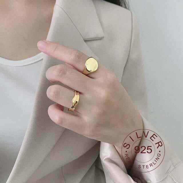 925 Sterling Silver Double Loop Rings Glossy Multi-wear Minimalist Elegant Korea Rings For Women Fashionable Jewelry