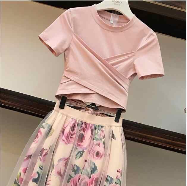 Falda de malla con estampado de flores para mujer, Camiseta de algodón Irregular, conjunto informal de 2 piezas, Top corto rosa con lazo, conjuntos de falda Floral a media altura