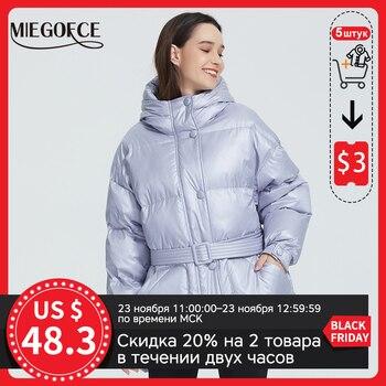 MIEGOFCE – Veste matelassée isolante, avec capuche et ceinture, pour femme, veste, parka, coupe ample, couleurs éclatantes, haute qualité, nouvelle collection hiver 2020 1