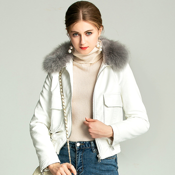 Real Natural Fox Fur Collar 2020 New Lady White Black Motorcycle & Biker Outerwear Coats Women Winter Warm Faux Leather Jackets image