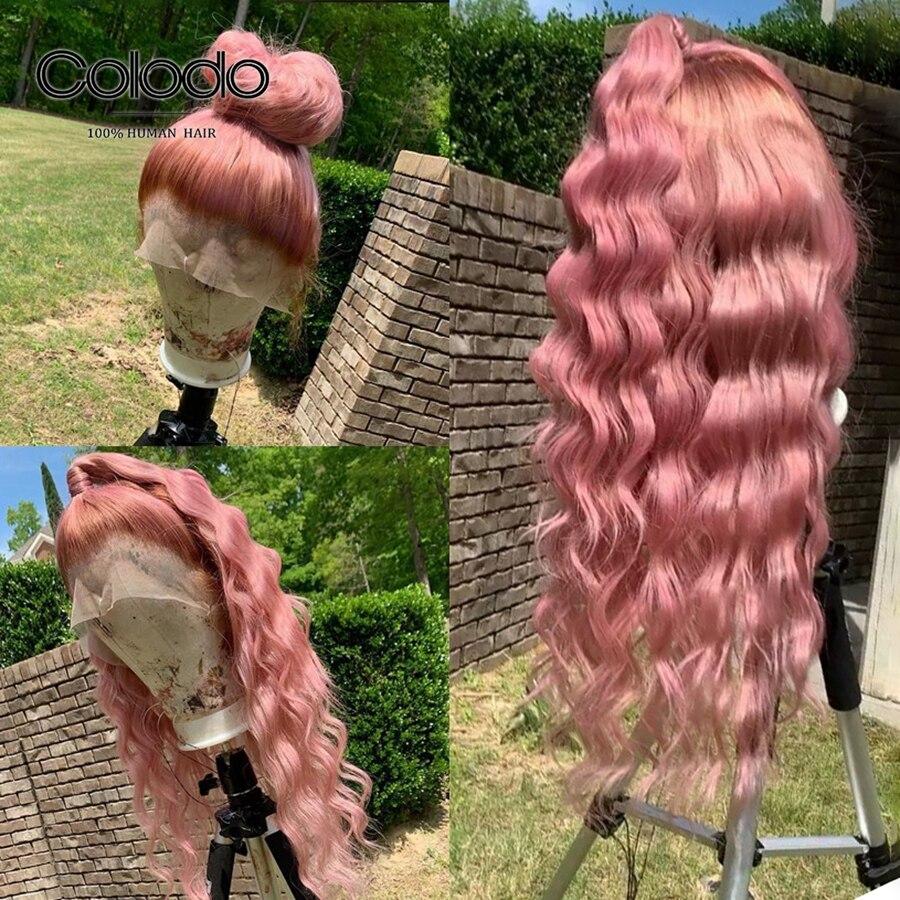 pink human hair wig