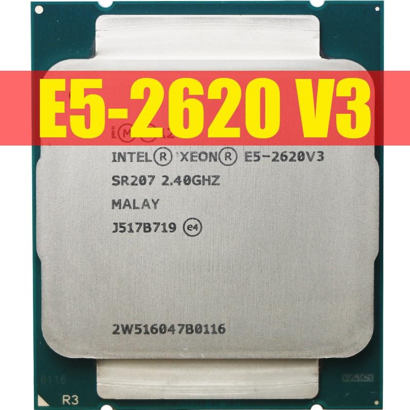 Процессор Intel Xeon E5 2620 V3 для ПК, центральный процессор для компьютера, SR207, 2,4 ГГц, 6 ядер, 85 Вт, разъем LGA 2011-3, E5 2620V3