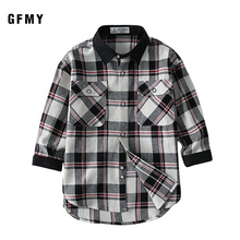 GFMY 2019  Autumn 100% Cotton Full Sleeve Fashion kids Plaid Shirt 3T-12T Casual Big Kid Clothes Can Be a Coat