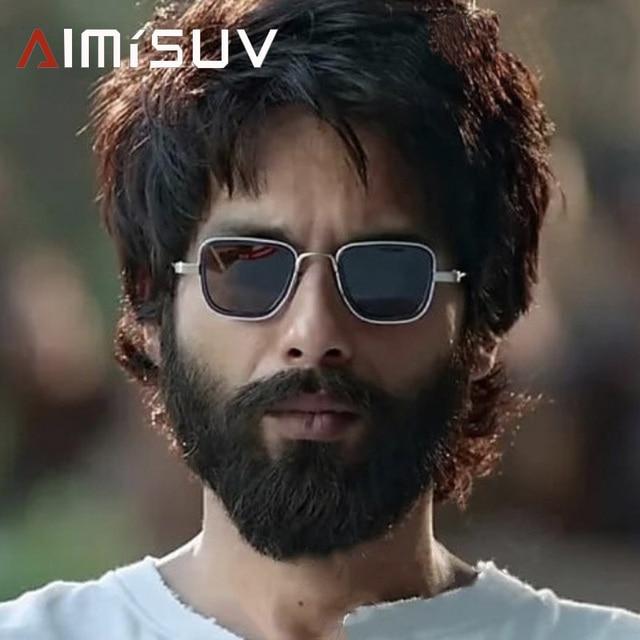 AIMISUV Vintage Square Sunglasses Men Polarized  Fashion Metal Punk Glassses Kabir Singh Sun Glasses male UV400