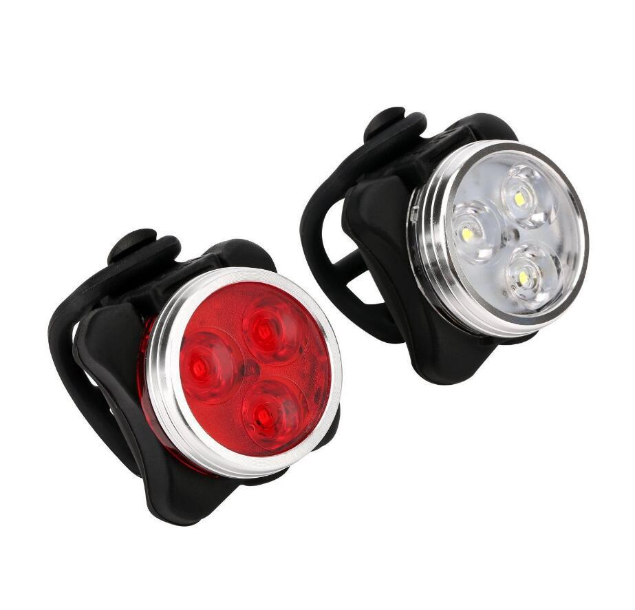 USB Rechargeable Cycling Bicycle Light 3 LED Head Front Tail Clip Light Lamp Outdoor Cycling bike accessories