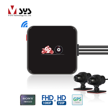 SYS VSYS M6L P6L WiFi Motorcycle DVR Dash Cam Full HD 1080P+720P Front Rear View Waterproof Motorcycle Camera Black Recorder Box