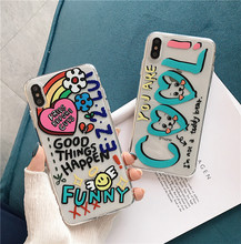 Get more info on the For iPhone 7 Transparent Phone Case For iPhone XS Max XR X 6 6S 8 7 Plus 11 Pro Max Case Graffiti Letters Clear Back Cover Soft
