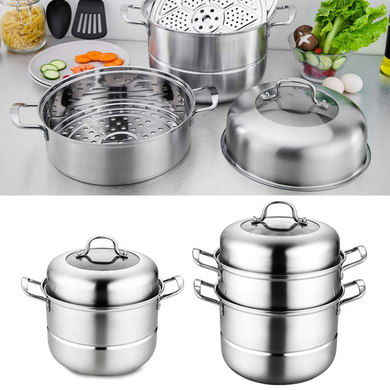 2/3 Tier Steamer Thickened Steam Steaming Pot Stainless Steel Kitchen Cookware Bottom Pot