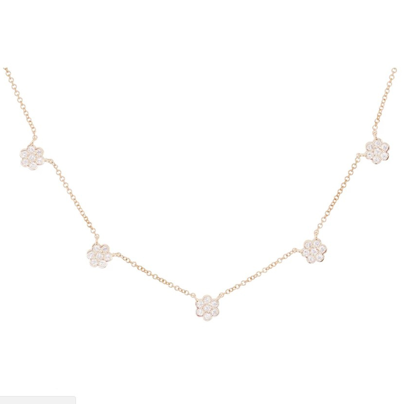 real 925 sterling silver flower charm pendant choker necklace with cz paved women wedding short necklace jewelry