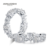 AINUOSHI Luxury 925 Sterling Silver Band Rings Women Engagement Simulated Diamond Wedding Silver Bridal Full Eternity Rings