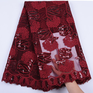 Image 5 - Latest Wine Red African Embroidery Tulle Lace Fabric 2019 High Quality French Milk Silk Lace Fabric With Sequins 5 Yards 1684