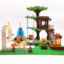 Trees House Building Blocks Bricks for Children MOC Wedding Fountain Toys Bloques Compatible City Friends Blocks Girls Boys Gift