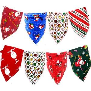 Image 2 - 50X Summer&Christmas Dog Cat Bandanas Scarf Adjustable Kids/Baby Dogs Cats Bibs Triangular Bow Ties Pet Grooming Accessories
