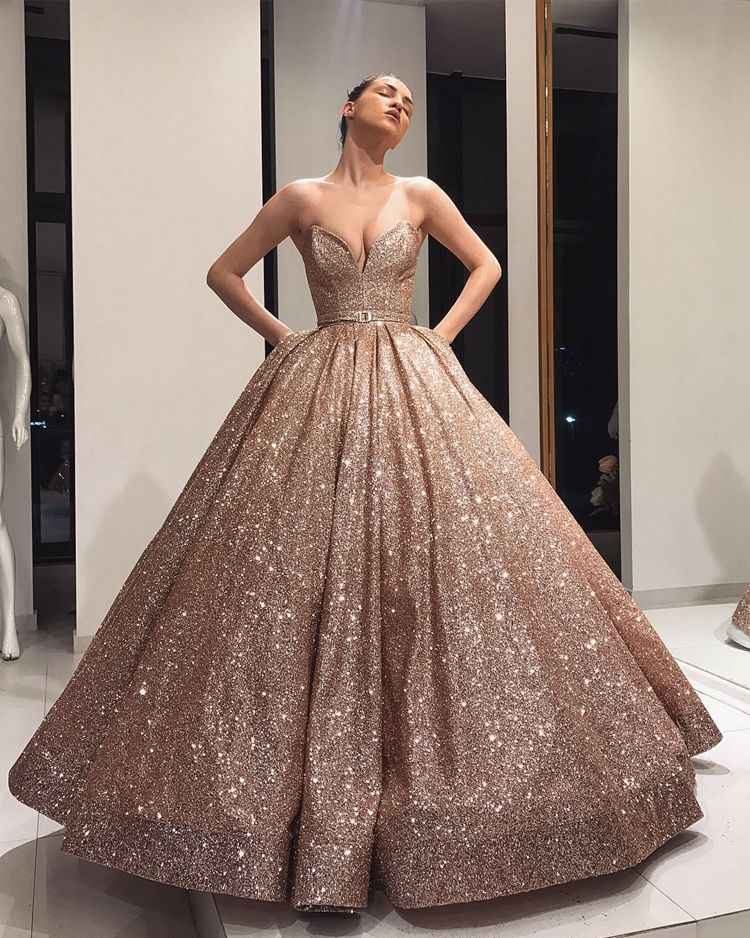 Puffy Charms Ball Gown Sweet 16 Dress Sweetheart Rose Gold Sequin Celebrity Glitter Women Party Quinceanera Dresses 2020 Quinceanera Dresses Aliexpress