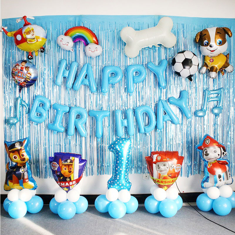 Paw Patrol Birthday Party Decoration Supplies Surprise Diy Patrulla Canina Pis Patrol Balloons Anime Figure For Children 2D74
