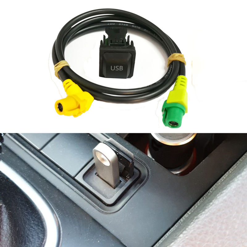 Car <font><b>USB</b></font> switch cable AUX switch button cable for VW <font><b>Passat</b></font> <font><b>B6</b></font> B7 Golf 6 Polo Bora CC RCD 510 RNS 315 <font><b>USB</b></font> AUX <font><b>adapter</b></font> audio cable image