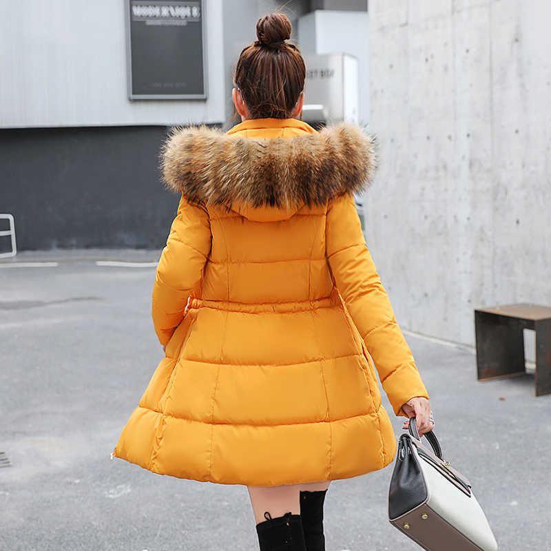 Lớn Bộ Lông Mùa Đông Áo khoác nữ dày Áo Khoác Dù Nữ Dài Mỏng Áo khoác mùa đông xuống nữ cotton xuống áo khoác dù xuống áo khoác phụ nữ