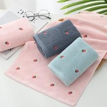 70x140cm bath towel Adult bath towel 100% cotton cute strawberry embroidery bathroom towel Ladies pink towel cotton towels