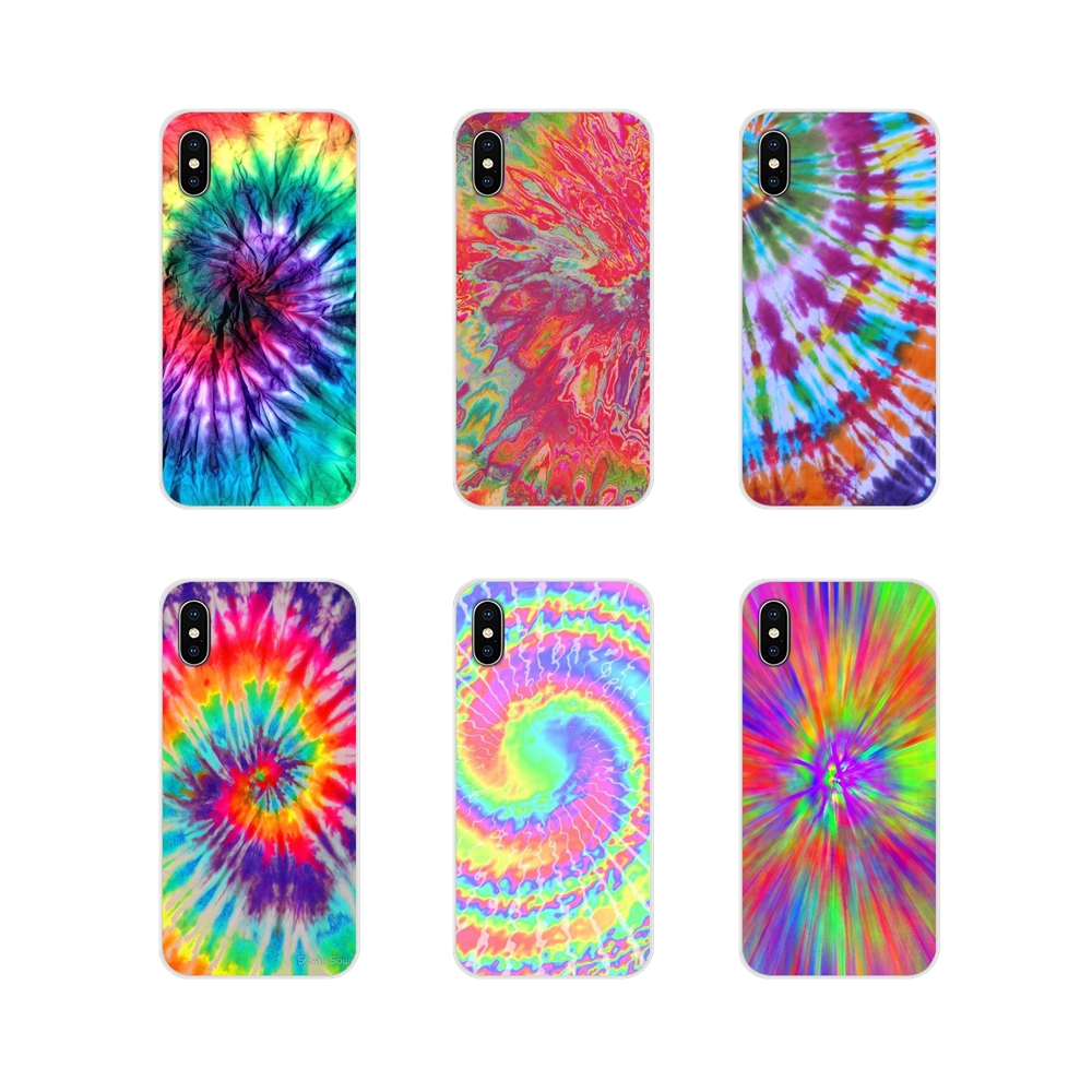 For Apple iPhone X XR XS 11Pro MAX 4S 5S 5C SE 6S 7 8 Plus ipod touch 5 6 Transparent Soft Cases Cover Tye Dye wallpaper Hippies image