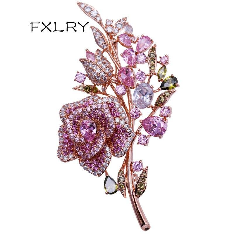 Casamento da Dama de Honra Broches e Pinos Fxlry Grande Novo Elegante Rosa Cristal Flor Broche Strass Pino Romântico