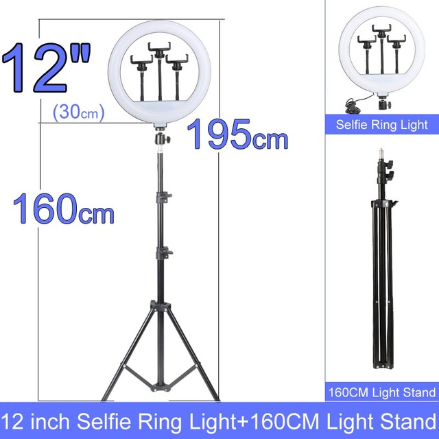 Gift 6 10 12 Inch Dimmable LED Selfie Ring Light with Stand without tripod 160cm Lamp Photography Ringlight Phone Studio Desktop 4