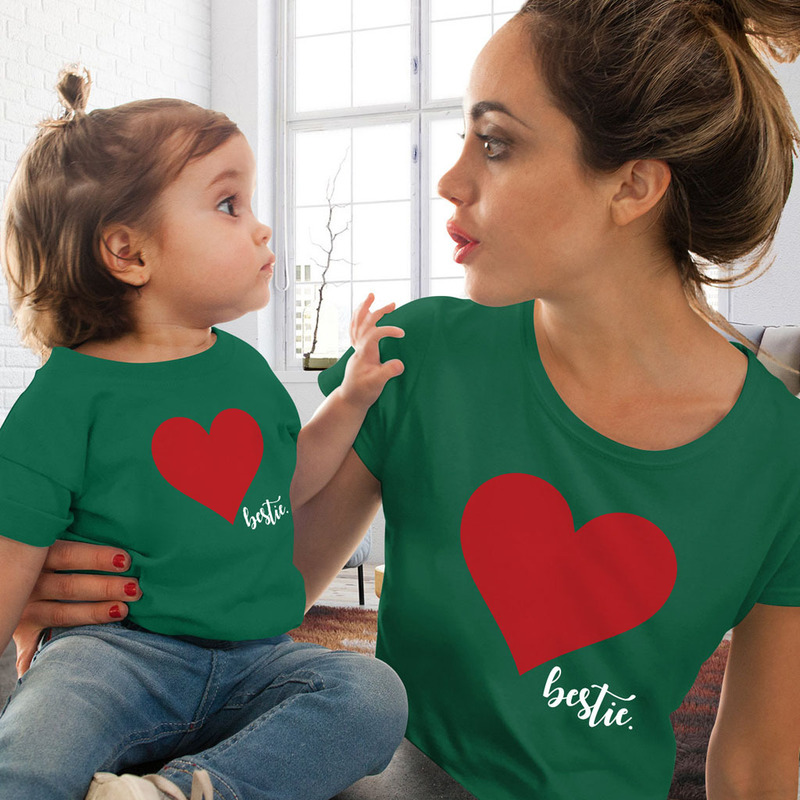 Mommy And Me Clothes Mother Daughter Matching Family Outfits T-shirt Women Kids Baby Girls Soft Cotton Heart Print Tops O-neck