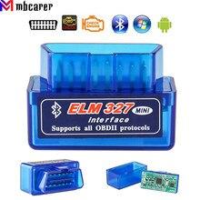 Elm327 obd2 scanner bluetooth v1.5/v2.1 obd carro ferramenta de diagnóstico leitor código para android windows symbian inglês mini
