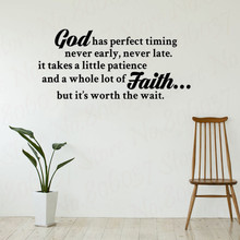 Wall Decal Quote God Has Perfect Timing Christian Vinyl Lettering Home Art Sticker WL1795