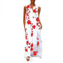 Women Vintage Maxi Long Dress Casual V-Neck Sleeveless Maple Leaf Printed Floral Summer Dress Streetwear Sundress Plus Size Robe(China)