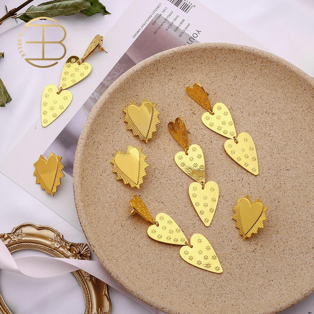 2020 New Fashion Irregular Spin Gold Heart Earrings Flower Embossing Three Heart Long Earrings Fashion Jewelry