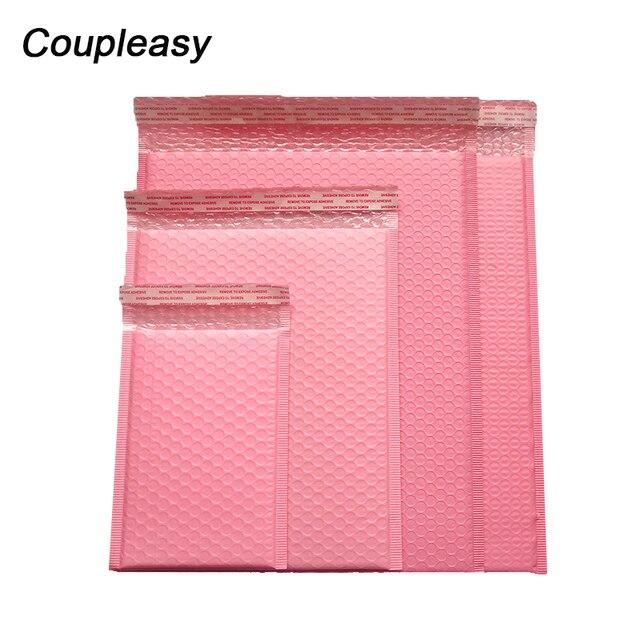 50 ピース/ロットポリバブル封筒ピンク便包装袋自己シールクーリエバッグ防水無料バッグメーラー