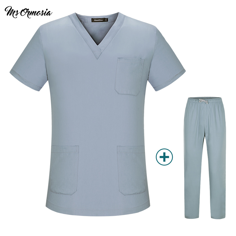 High Quality Hospital Doctor Surgical Scrub Suits Pure Cotton Green Medical Uniforms Nursing Clothes Men Women Tops And Pants