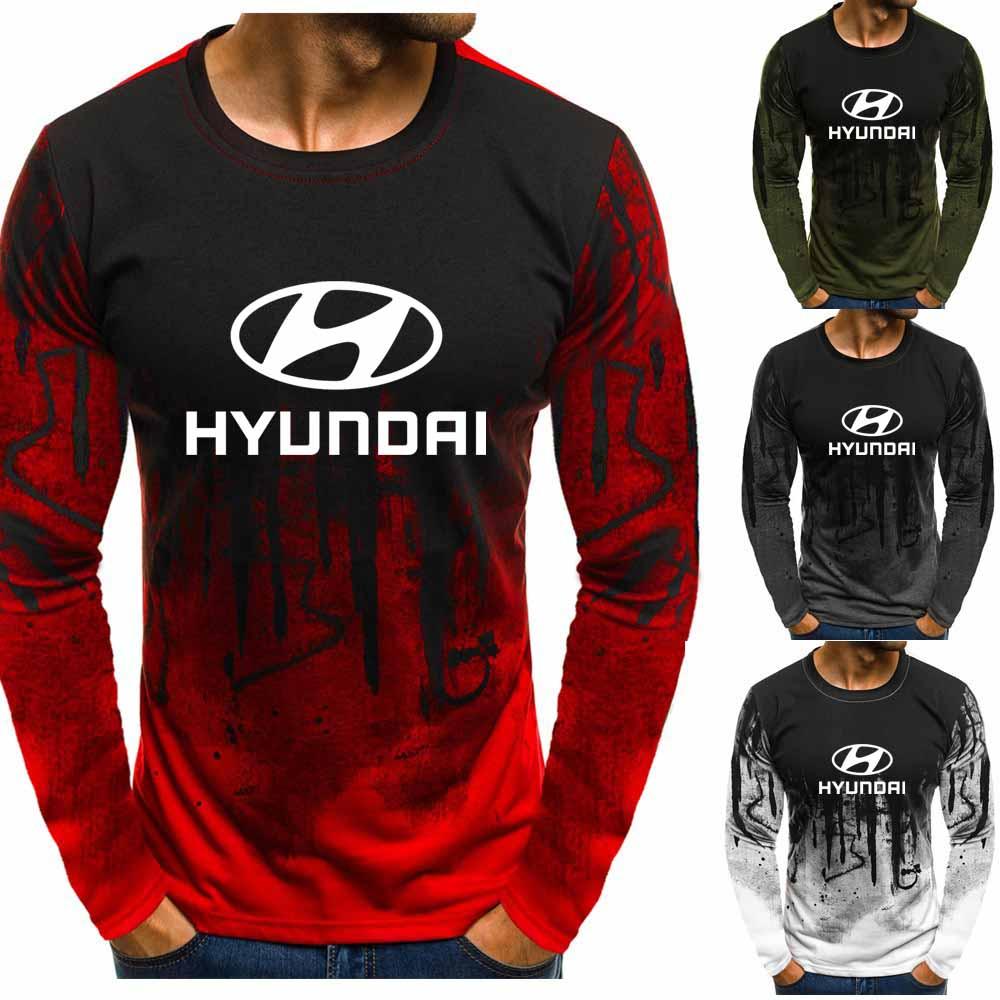 Gradient O Neck Pullover Sweatshirts Hyundai Motors Car Logo Printed Casual Cotton Men Hoodies Hip Hop Harajuku Men Clothing