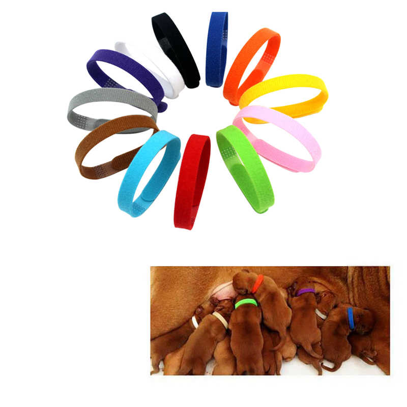 12 ピース/セット調節可能なナイロン子犬新生児ペット識別のために首輪ペット犬子猫ネックレス首輪 Whelping 子犬の首輪