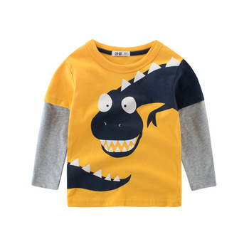 T-Shirt Spring Boys Tops Long-Sleeve Kids Cotton Cartoon 2-8 Years Tees Children Print  Toddler Summer Girls Baby Tee Dinosaur children t shirt long sleeves kids boys girls cotton tops baby dinosaur print cartoon clothing tee 2 8 years clothes full