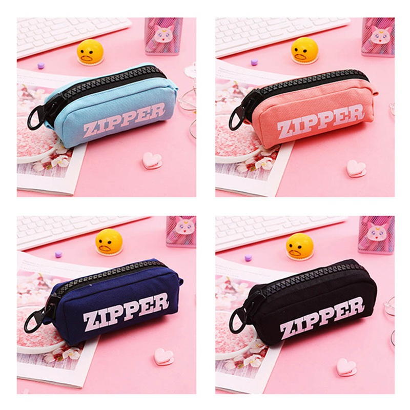 Creative <font><b>Big</b></font> Zipper <font><b>Pencil</b></font> <font><b>Case</b></font> <font><b>Canvas</b></font> Large Pen Box Kawaii Pencilcase For Girl Gifts Bags Cute School Stationery Supplies image