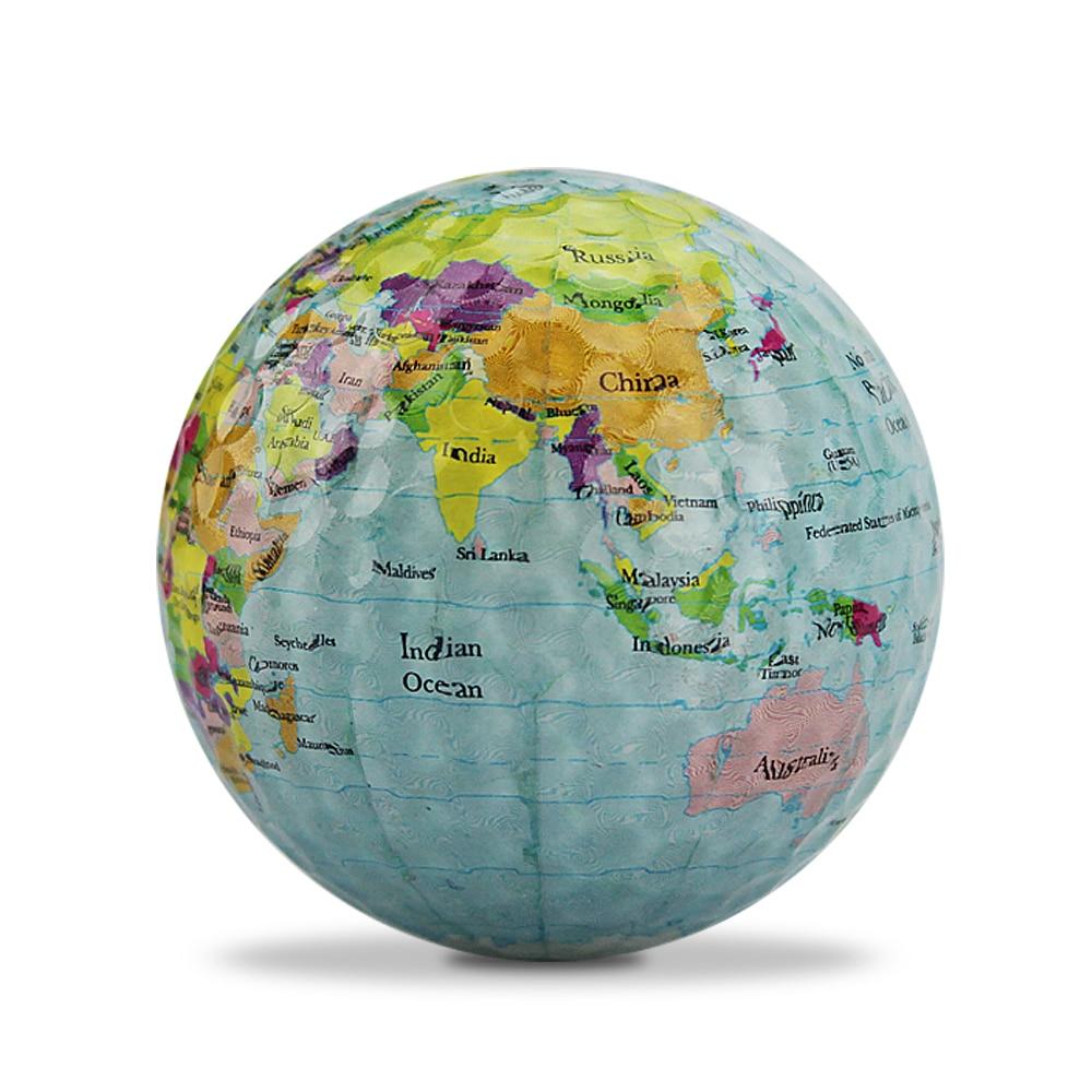 Free Shipping 3 Pcs/lot Globe Map Color Golf Balls Practice Golf Balls Golf Gift Balls