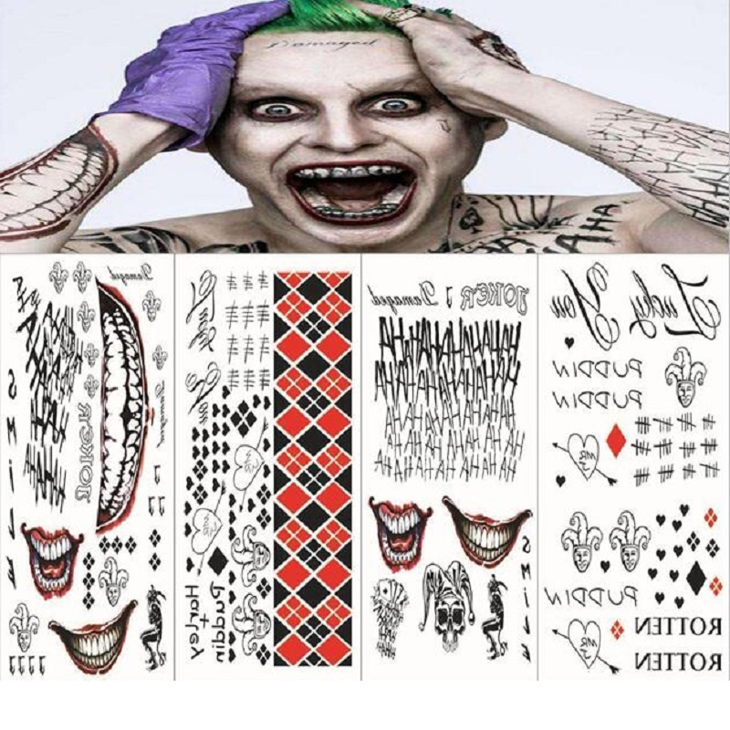 Movie Batman Joker Temporary Tattoos Sticker Toy Suicide Squad Harley Quinn Cosplay Costume Prop For Kids Birthday Party Gift