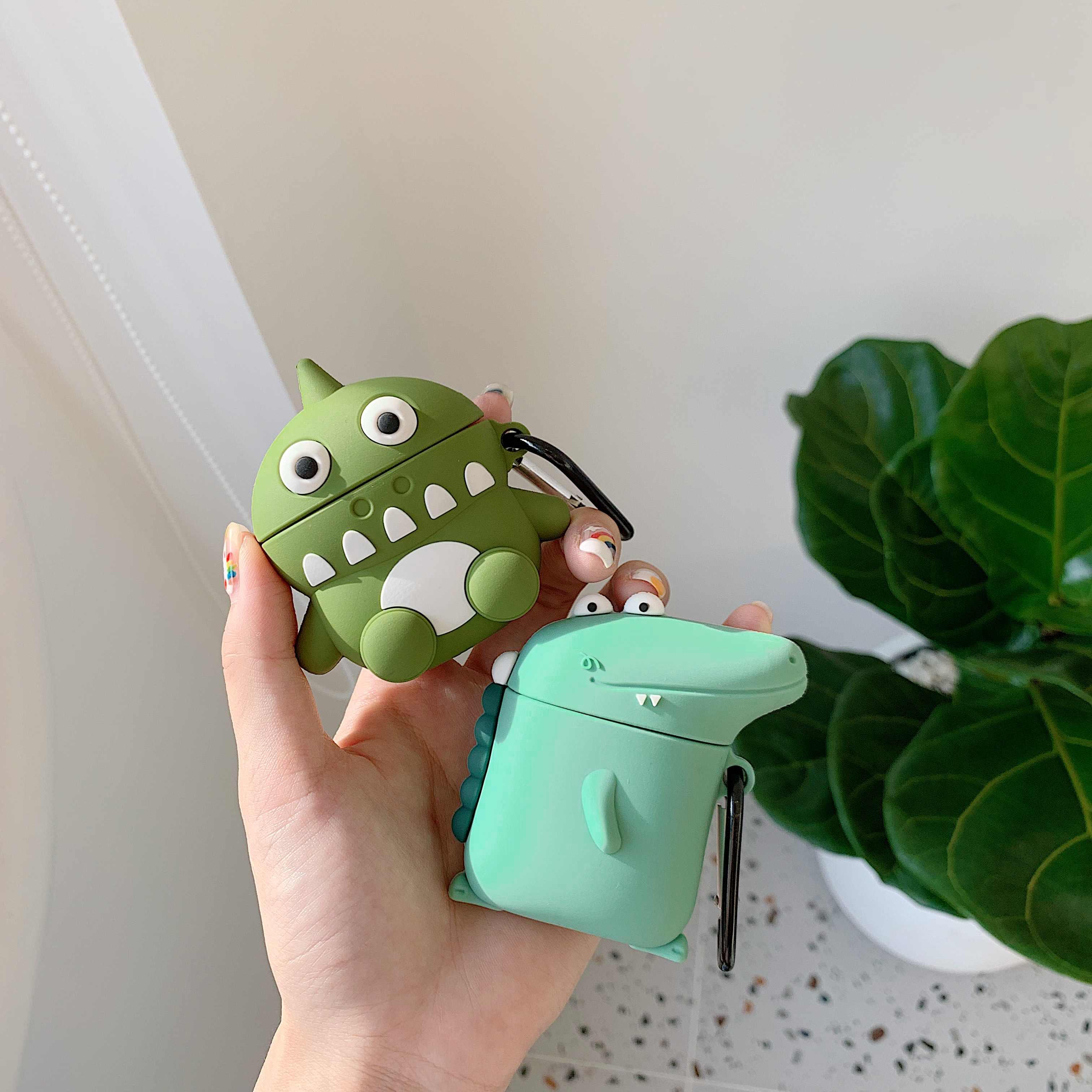 3D śliczne piękny Cartoon lew krokodyl Dinosaur Case dla Apple Airpods 1 2 bezprzewodowe słuchawki douszne pokrywa ochronna Shell Box
