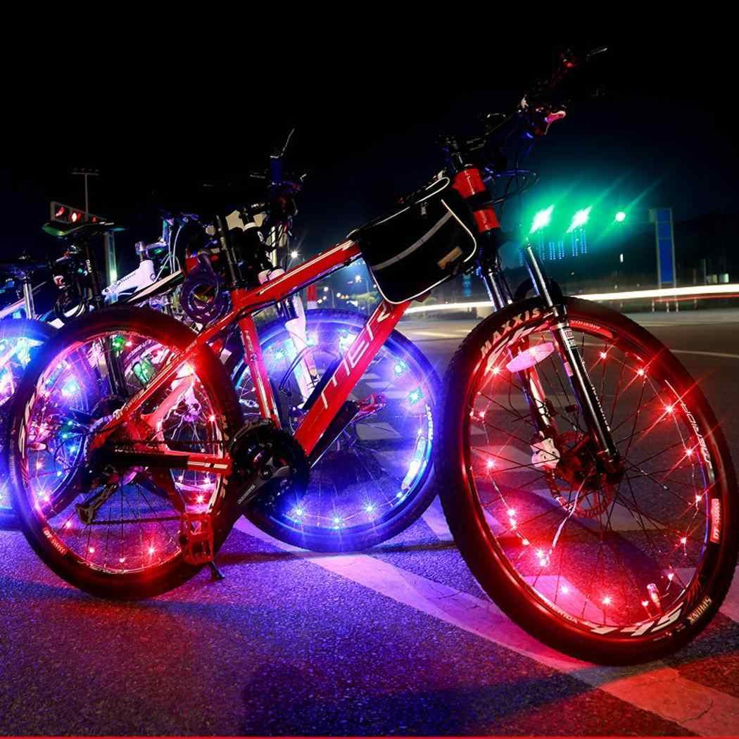 サイクリング自転車自転車ホイールタイヤワイヤーロープライト 20 LED ランプ 3 × aa 防水サイクリング、自転車、バッテリ駆動