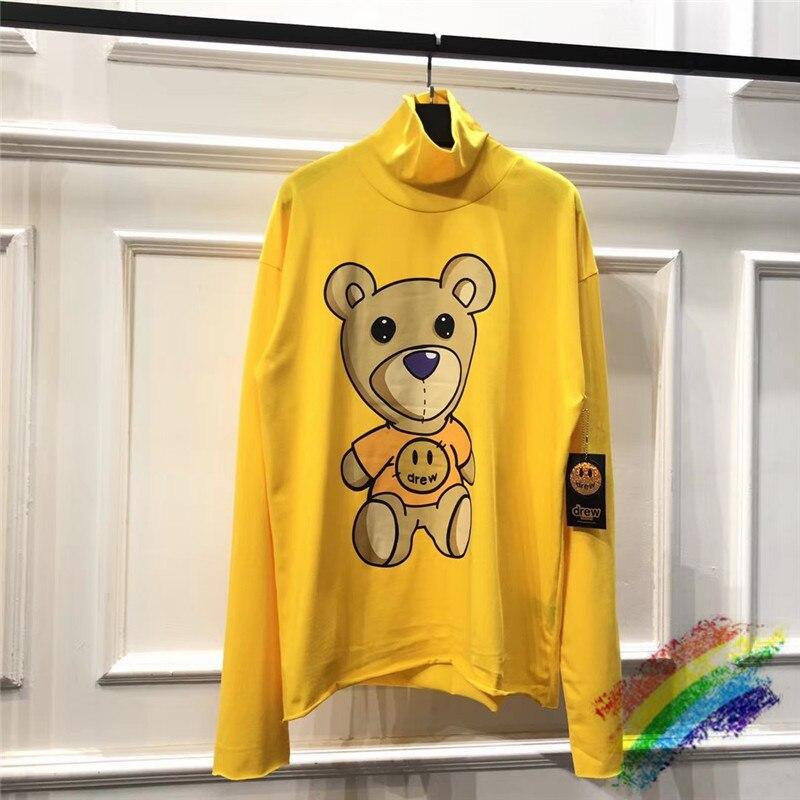 Yellow Long Sleeve Turtleneck Justin Bieber DREW House Bear Printing T-shirts Women Men 1:1 Best-Quality DREW Top Tee T Shirts