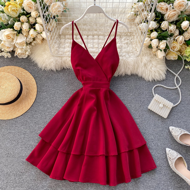 New Summer Spaghetti Strap Dress Female Sexy V Neck Backless High Waist Dress Ladys Red Yellow White Ball Gown Dress