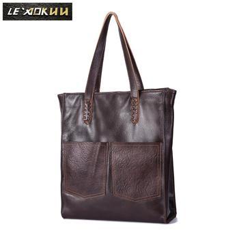 """GENUINE LEATHER Famous Brand Ladies Casual Desinger Large 16"""" handbag Shoulder bag Women female Fashion ol elegant Tote bag 121"""