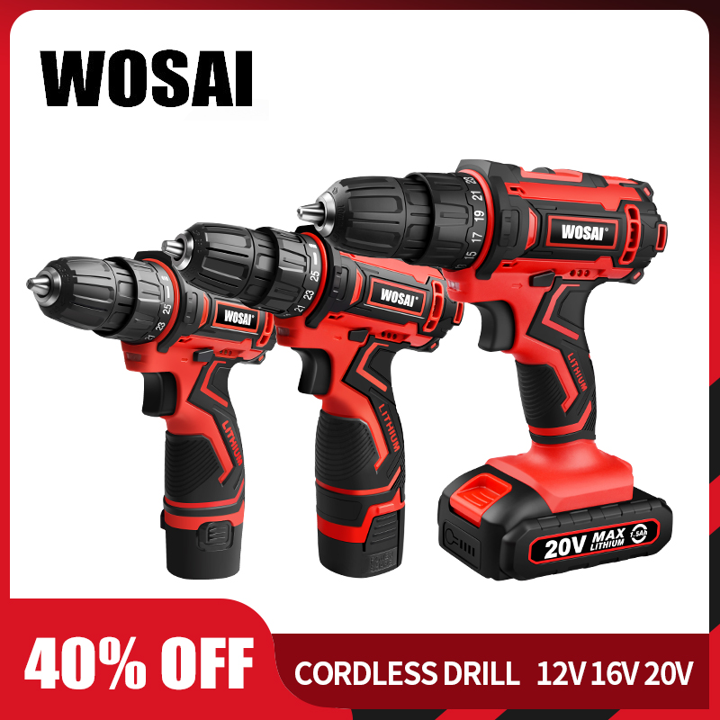 WOSAI 12V 16V 20V Cordless Drill Electric Screwdriver Mini Wireless Power Driver DC Lithium-Ion Battery 3/8-Inch image