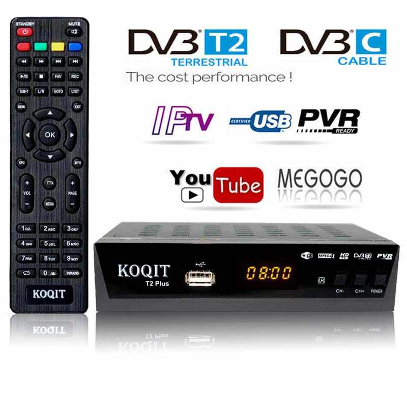 HD Kostenloser Dvb T2 TV Tuner DVB T2 DVB-C Dvb-t2 Tuner Digital TV Box H.264 Empfänger Wifi USB IPTV M3u youtube Russische t2 Set-Top-Box