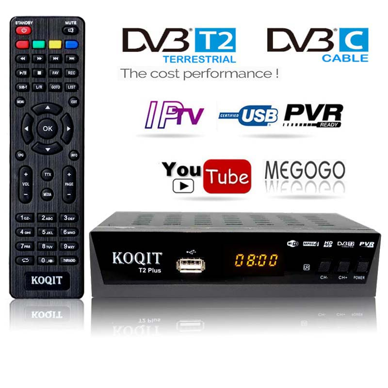 HD Free Dvb T2 TV Tuner DVB T2 DVB-C Dvb-t2 Tuner Digital TV Box H.264 Receiver Wifi USB IPTV M3u Youtube Russian T2 Set Top Box